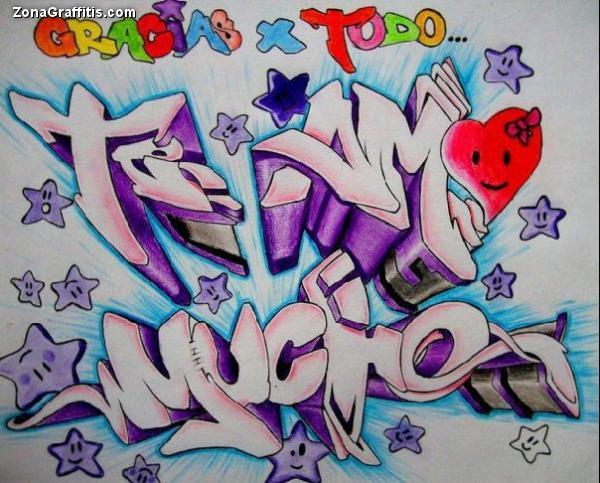 Graffitis bocetos de amor , Imagui